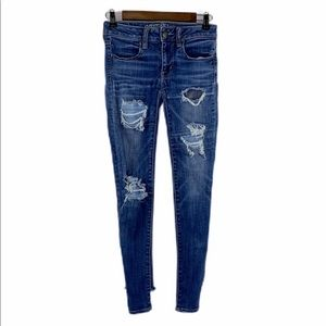 American Eagle Outfitters Jeans - AE Distressed Destroyed Skinny Jean 2 Short